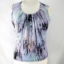 Calvin Klein Sleeveless Top Womens XL Purple Black Stretch Polyester Shirt - $15.99