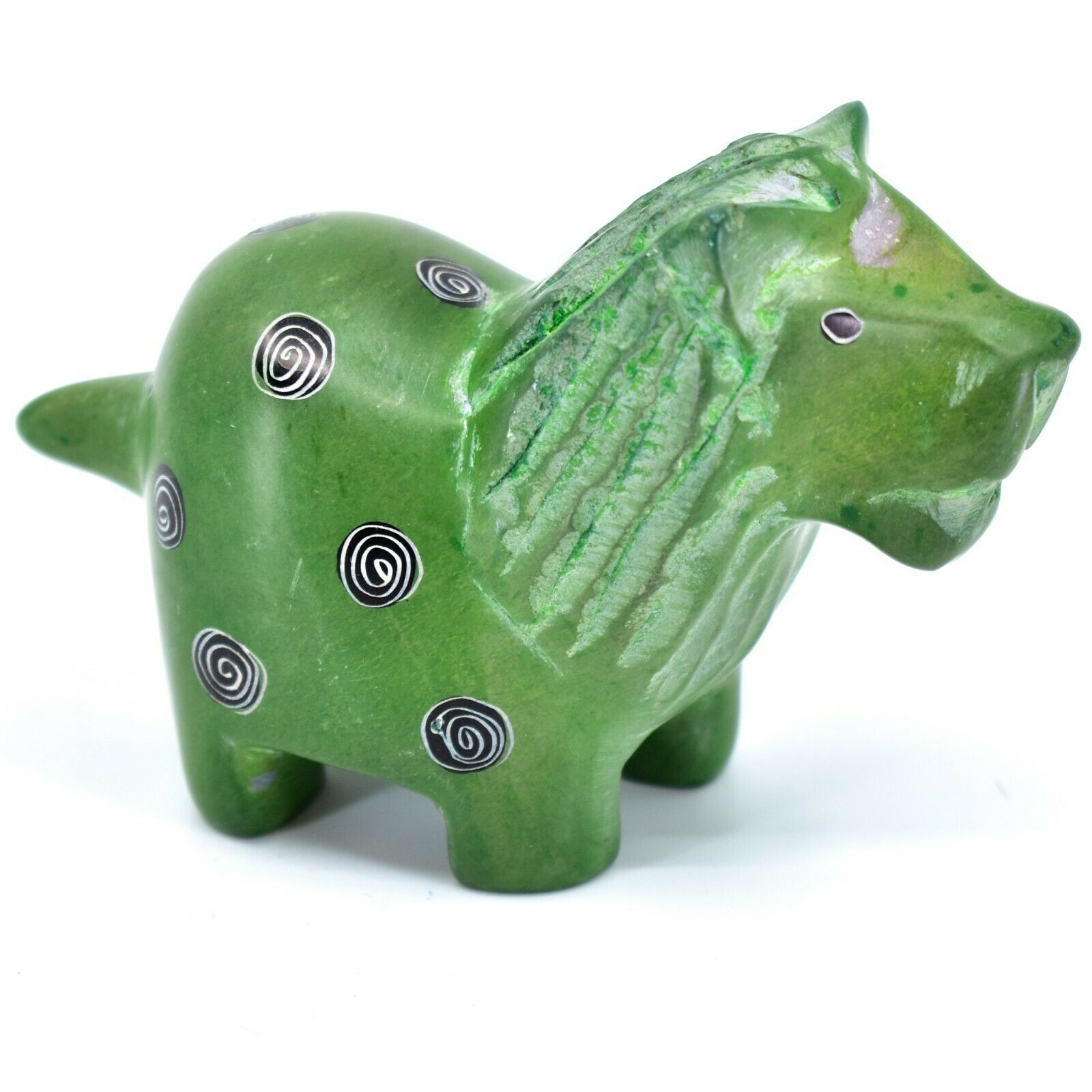 Tabaka Chigware Hand Carved Kisii Soapstone Green Lion Figurine Made in Kenya