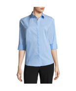 Liz Claiborne 3/4 Sleeve Button Front Shirt Size S Placid Blue New Msrp $30 - $9.99