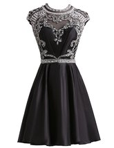 Black Homecoming Dresses Taffeta Open Back Sexy Short Prom Dress Cocktai... - $154.00