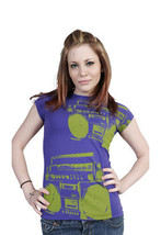 Famous Stars & Straps Womens Purple Green I'm Only Dancing Boombox T-Shirt NWT image 2