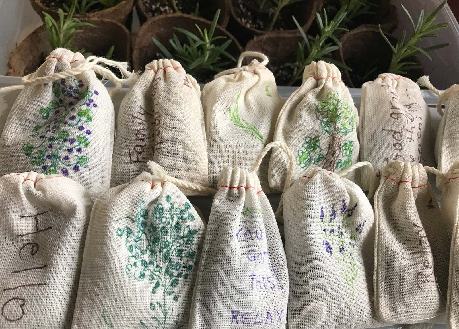 Primary image for Relaxing Lavender sachets favors or small gifts with essential oils Set of 12
