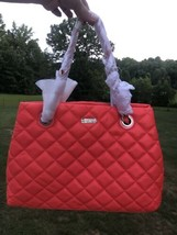 Kate Spade Gold Coast Maryanne Flo Coral Quilted Leather Bag Large purse... - $629.36 CAD
