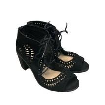 VINCE CAMUTO Women's Tarita Shoes Sz 8.5 Black Suede Lace Up Zip Heel Sandals. - $42.04