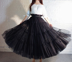 BLACK Tiered Long Tulle Skirt Outfit High Waist Plus Size Princess Party Outfit image 1