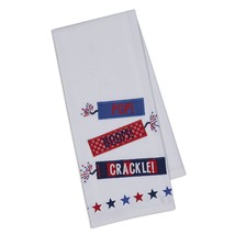 Firecrackers Dish Towel Embellished New Cotton Pop Boom Crackle Red Whit... - $14.84