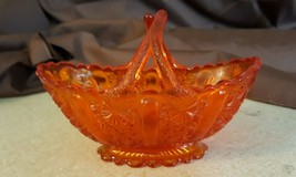 Fenton Art Glass Orange Amberina Color Daisy & Button Split Twig Handle Basket - $19.95