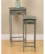 Country new pair of distressed barn gray metal bedside stands w/drawers... - $104.99