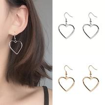 High Quality Long  Jewelry  Silvery Gifts Heart Golden Drop Earrings Sale Lovely - $11.26