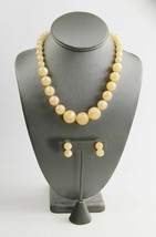 ESTATE VINTAGE Jewelry PEACH MOONGLOW PLASTIC SET EARRINGS & NECKLACE  - $15.00