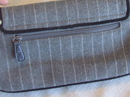 Small Gray Wool Blend Purse with Button, bead and Feather Embellishments image 6