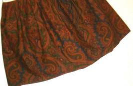 Ralph Lauren Brianna Elizabeth Paisley King Ruffled Bedskirt Navy Emerald Brown - $49.47
