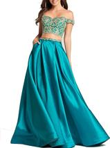 Womens Two Pieces Off Shoulder Prom Dress Lace Applique Long Formal Even... - $115.99