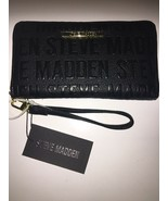 Steve Madden Wallet Black Stamped Logo Gold Zipper and nameplate Organizer - $37.99