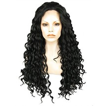 Ebingoo Long Black Curly Lace Front Wig for Women Natural Hairline Kinky Curly G