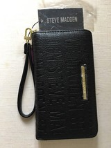 Steve Madden Black Logo Black Gold Zip Around Organizer Wallet New - $34.99