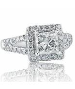 2.23 Ct Princess Cut Diamond Engagement Ring 18k White Gold - $5,197.04