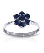 Platinum Plated 925 Sterling Silver Ring w/ Natural Sapphires - $79.95