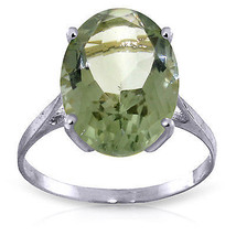 7.55 ct Platinum Plated 925 Sterling Silver Ring Natural Green Amethyst - $72.45