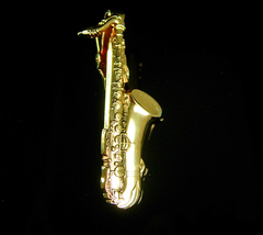 Vintage Gold Saxaphone Tie Clip Anson Artist gift  Musician Band Birthda... - $85.00