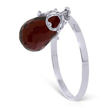 3 ct Platinum Plated 925 Sterling Silver Ring Dangling Briolette Garnet - $79.95