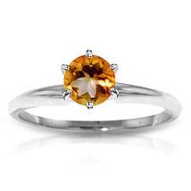 Platinum Plated 925 Sterling Silver Solitaire Ring w/ Natural Citrine - $79.95