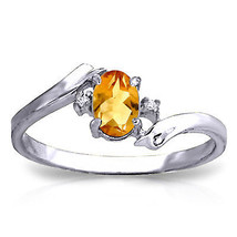 0.46 CTW Platinum Plated 925 Sterling Silver Mystic Citrine Diamond Ring - $79.50