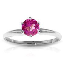Platinum Plated 925 Sterling Silver Solitaire Ring w/ Natural Pink Topaz - $79.50