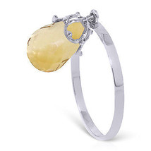 3 ct Platinum Plated 925 Sterling Silver Ring Dangling Briolette Citrine - $79.95
