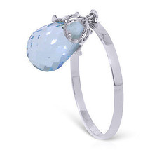 3 ct Platinum Plated 925 Sterling Silver Ring Dangling Briolette Blue Topaz - $79.95