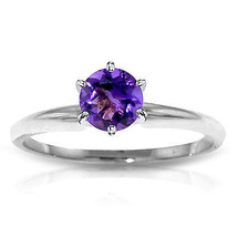 Platinum Plated 925 Sterling Silver Solitaire Ring w/ Natural Purple Ame... - $79.95