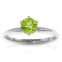 Platinum Plated 925 Sterling Silver Solitaire Ring w/ Natural Peridot - $46.58