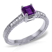 Platinum Plated 925 Sterling Silver Rings w/ Natural Diamonds & Purple Amethyst - $112.72