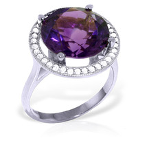 6.2 CTW Platinum Plated 925 Sterling Silver Ring Natural Diamond Amethyst - $156.03