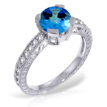 Platinum Plated 925 Sterling Silver Ring w/ Natural Diamonds & Blue Topaz - $112.72