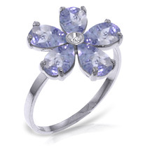 Platinum Plated 925 Sterling Silver Ring w/ Natural Diamond & Tanzanites - $114.89