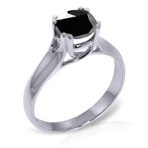 Platinum Plated 925 Sterling Silver Solitaire Ring w/1.0 ct Black Diamond - $182.82