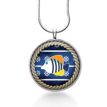 Fish Necklace - Nautical Jewelry - Rope Pendant - $18.32