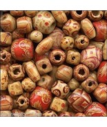 600 Bamboo Craft Art Beads Mixed Shapes Size Pattern Lightweight Strong ... - $15.14