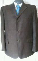 Vintage Van Heusen Choc Brown Mens Sport Jacket Polyester Wool Blend 46 ... - $22.43