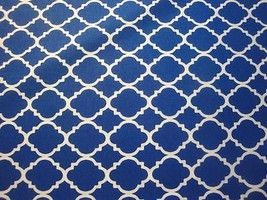 Royal With White Novelty Lines Fabric-Quatrefoil Line By Choice Fabrics-BTY - $7.95