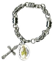 "St Jude Apostle of Extreme Challenges Charm & Cross Stainless Steel 7"" t... - $27.95"