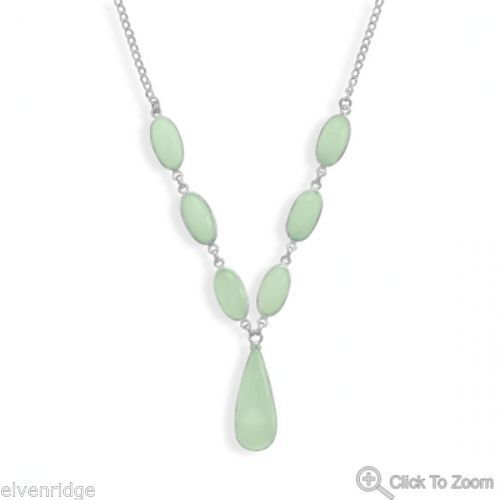 "17.5"" Green Chalcedony Necklace Sterling Silver"