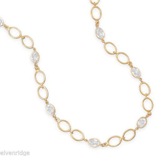 "16""+3"" 14 Karat Gold Plated CZ Necklace Sterling Silver"