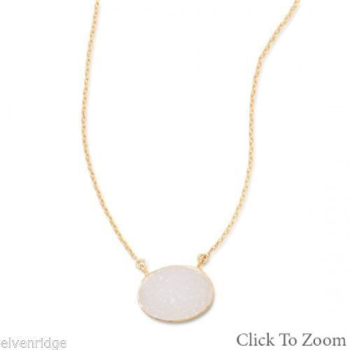 "16"" + 2"" 14 Karat Gold Plated White Druzy Necklace Sterling Silver"