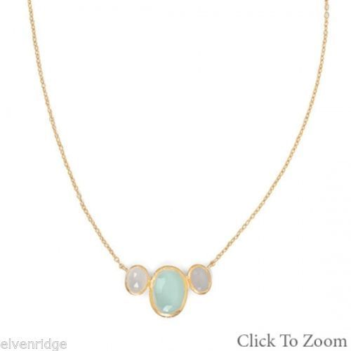 14 Karat Gold Plated Oval Chalcedony Necklace Sterling Silver