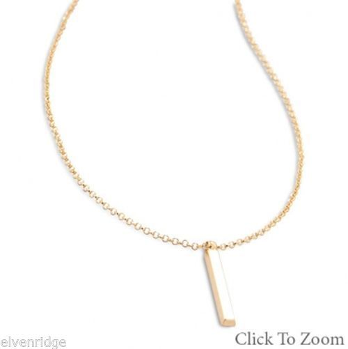 "18"" 14 Karat Gold Plated Drop Bar Necklace Sterling Silver"