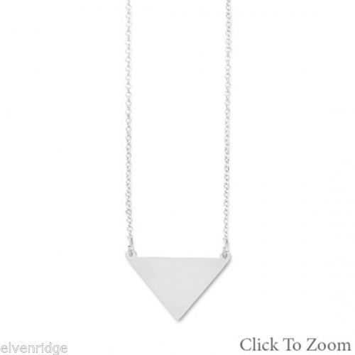 "18"" Sterling Silver Engravable Triangle Necklace Sterling Silver"