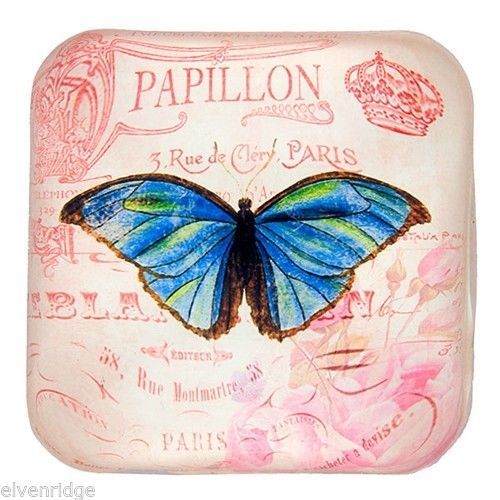 Exquisite Blue Butterfly on French background Glass Paperweight in Gift Box