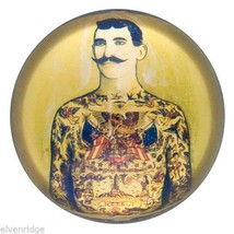 Exquisite Vintage Looking Tattoo Man w Mustache Glass Paperweight in Gift Box